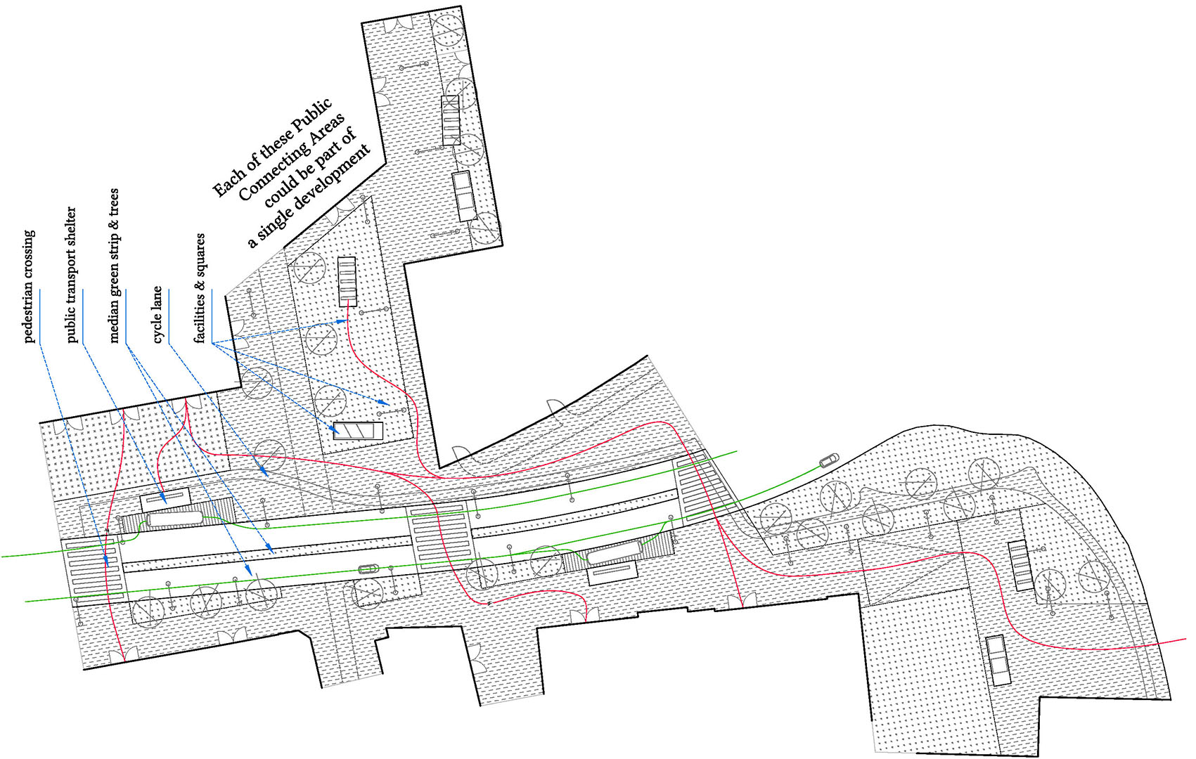 06 PLAYstudio Kune Europan 13 Bruck - Plan Public Space Detail